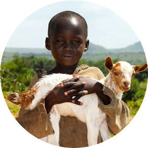 Liberian boy carrying a goat